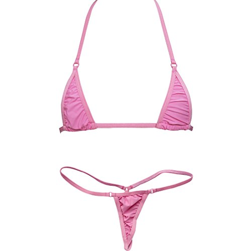 iEFiEL Women Micro G-String Bikini 2 Piece Sliding Top Thong Small Bra (Pink)