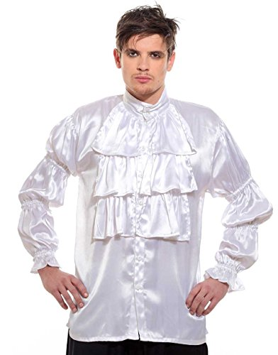 Frilly Ruffled Seinfeld Pirate Costume Shirt (XL) White -
