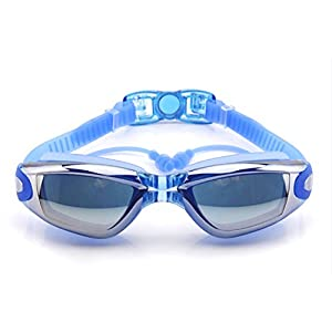 New Corrective Nearsighted Swimming Goggles(Prescription 2.0-8.0 Diopters) with Ear Plug connect to-100% Highest Grade UV Protection and Anti-fog (Blue-3.0)