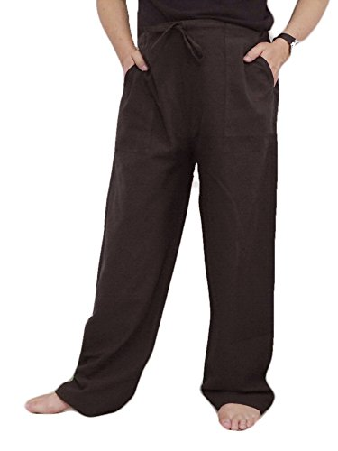 1 Back Pocket (SPICY SERVED Men and Women Unisex Style 100% Cotton Pants Casual Drawstring Loose Capri Yoga Gym Jogger Pajama Free Size, 2 Sides Pocket and 1 Back Pocket by (Dark Brown))