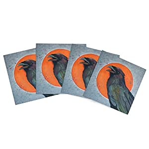 """Kess InHouse Lydia Martin """"Raven Sun"""" Outdoor Place Mat, 15 by 15-Inch, Set of 4"""