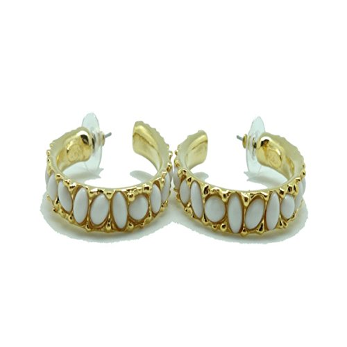 KENNETH JAY LANE Medium Goldtone with White Cabochon Hoop Pierced Earrings 1 5/8 ()