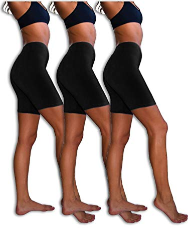 Sexy Basics Womens 3 Pack Sheer & Sexy Cotton Spandex Boyshort Yoga Bike Shorts (Medium -6, 3 PK BLACK)