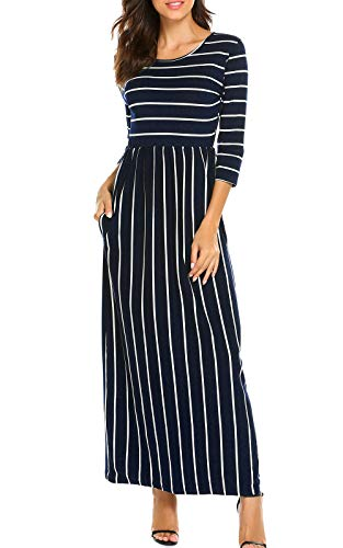POGTMM 3 Pocket Navy Striped Maxi Blue A Womens Long Line Sleeve Fall Dress with Dress Casual Plain Side 4 qrwrTI