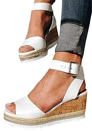 Gyouanime Women Ankle Strap Platform Wedges Sandals High Heel Wedge Sandals Dress Shoes Peep Toe Sandals (Nine West Uk-shops)