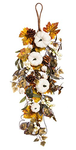 Cypress Home White Pumpkin Floral Wall Decor - Evergreen Pinecone Wall