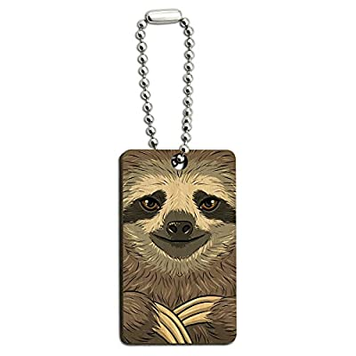 Graphics And More Sloth Face Wood Wooden Rectangle Key Chain - Graphics And More