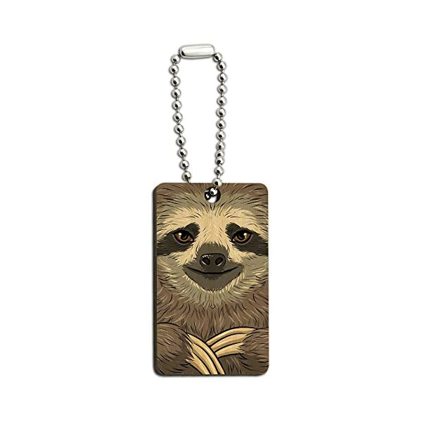 Graphics And More Sloth Face Wood Wooden Rectangle Key Chain -