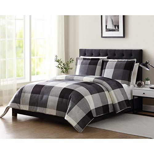 Comforter Set Cube (MISC 3 Piece Gray Black Plaid Comforter Full/Queen Set Plad Theme Bedding Square Box Buffalo Pattern Cube Box Checked Tartan Cabin Lodge Dorm, Polyester)