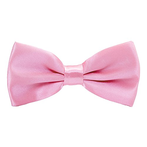 Boys Pre tied Bow ties - Children Kids Adjustable Solid Color Wedding Party Satin Bowties Pink (Bowties Pink)