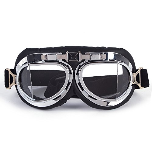 OMG_Shop NEW Leather Motorcycle,Flying Goggles leather motorcycle motorbike ()
