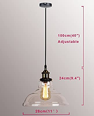 Permo Vintage Rustic Industrial 1-light Clear Glass Bowl Shade Hanging Pendant Lamp Light Fixture with 40w Filament Edison Bulbs