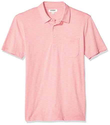 Amazon Brand - Goodthreads Men's Short-Sleeve Lightweight Slub Polo Shirt, Pink Stripe, Small