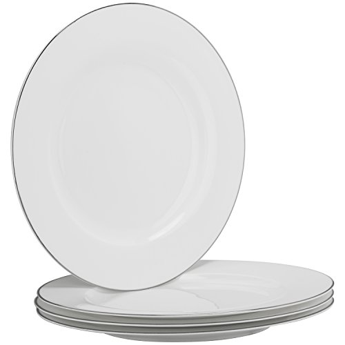 "10 Strawberry Street Bone China Silver Band 10.5"" Dinner Plate, Set of 4, White/Silver"