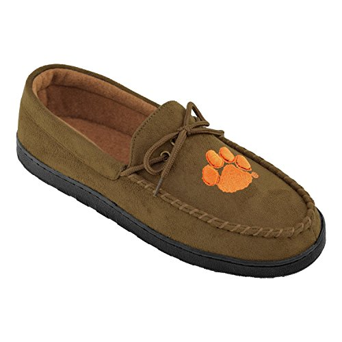 NCAA Premium Mens Moccasin Shoes - Comfortable Flannel Lining Indoor and Outdoor use easy Slip on and off, Pick Your Favorite NCAA Team