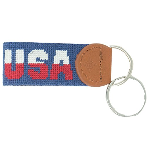 (Islanders Hand-Stiched Needlepoint and Leather Key Fob for Keychains, USA Navy Blue/Light Brown, One Size)