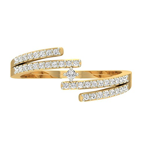 18 K Or jaune 0,26 CT TW Round-cut-diamond (IJ | SI) en diamant