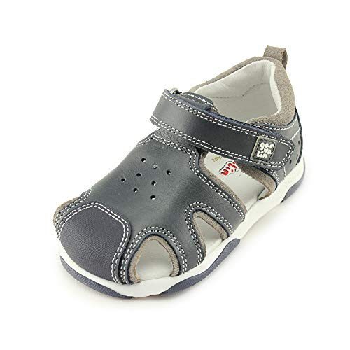 Garvalin Childrens Shoes - Garvalin Boys Closed Toe Leather Sandals with Arch and Ankle Support (192321 A Azul Marino)