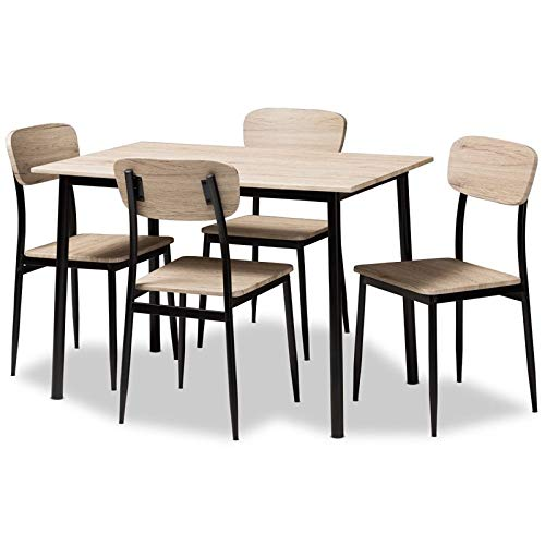 Baxton Studio 5-Pc Dining Set in Light Brown