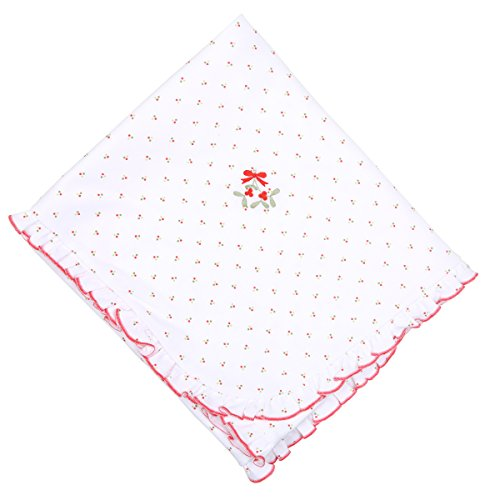 Magnolia Baby Unisex Baby Be Merry Embroidered Ruffle Blanket Red One Size