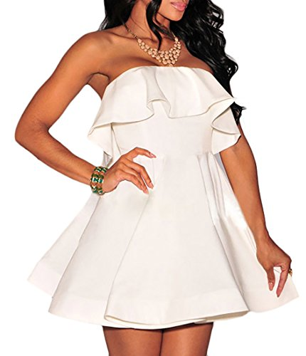 78636f84f13b Sexy Donna Abilio Senza Vestito Bianco Svasato Abito Corto Maniche q7RrXwR5x