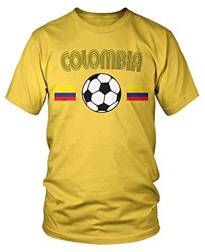 Amdesco Men's Colombia Soccer, Colombian Football T-shirt, Yellow XL