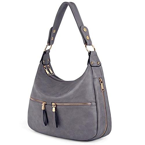 UTO Women Handbag PU Leather Zipper Pocket Purse Hobo Style Shoulder Bag A Grey 205 ()