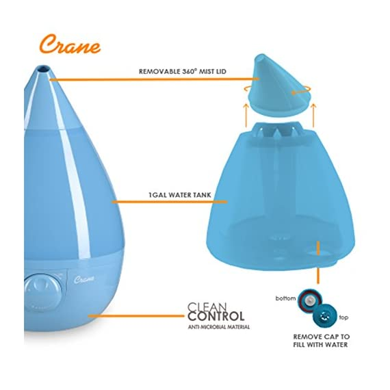 Crane Humidifier, Ultrasonic Cool Mist Humidifiers, Filter-Free, 1 Gallon, for Home Bedroom Baby Nursery and Office 4 1 GALLON TANK: Removable 1 gallon tank fits under most bathroom sinks for easy filling and runs whisper quiet up to 24 hours CLEAN CONTROL: Anti-microbial material reduces mold and bacteria growth by up to 99.96% SOOTHING RELIEF: Ultrasonic Cool Mist effectively humidifies up to 500 square feet for easier breathing and a good night's sleep