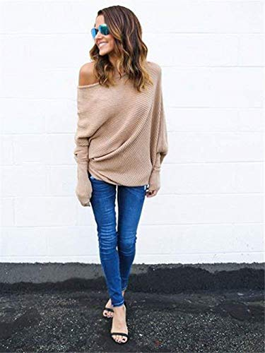 Ropa Elegantes Tops Shoulder Primavera Sudadera Khaki Larga Pullover Colores Mujer De Otoño Top Casuales Relaxed Camisa Blusa Sólidos Sweater Off Manga Aw657Eqz