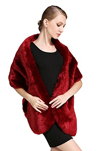 BEAUTELICATE Women's Faux Fur Shawl Stoles Wrap for Bridal/Wedding/Party-S62 Navy Blue