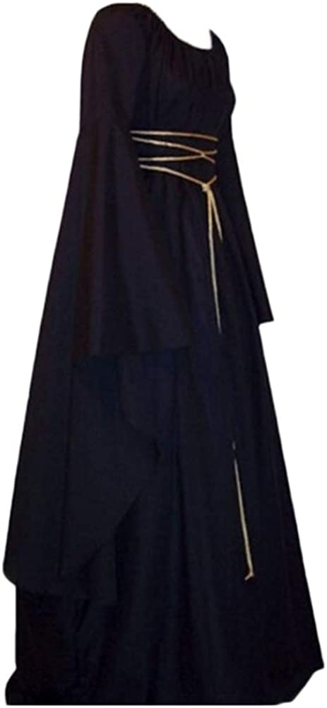 Womens Retro Renaissance Medieval Costume Evening Party Wear Cosplay Long Maxi Dress