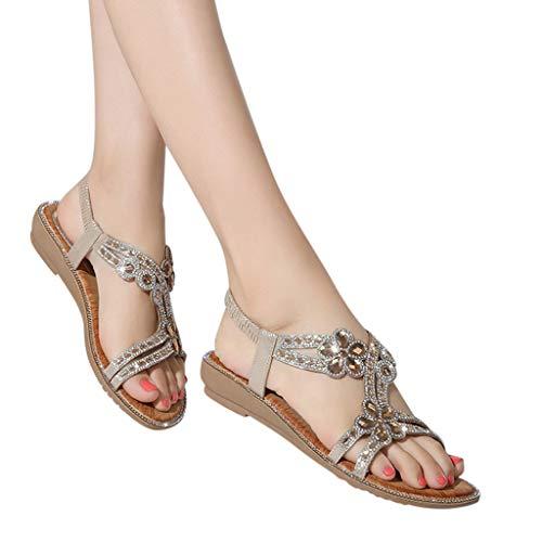 bcf98c4e4867e Amlaiworld Women Walking Sandals Summer Bohemia Sweet Beaded Sandals  Comfortable Flat Beach Water Sandals Gold