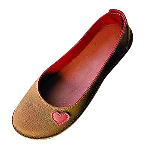 Tantisy ♣↭♣ Women's Ballet Flats Classy Simple Casual Slip-on Comfort Walking Shoes Ladies Travel Shoes Multicolor Brown]()