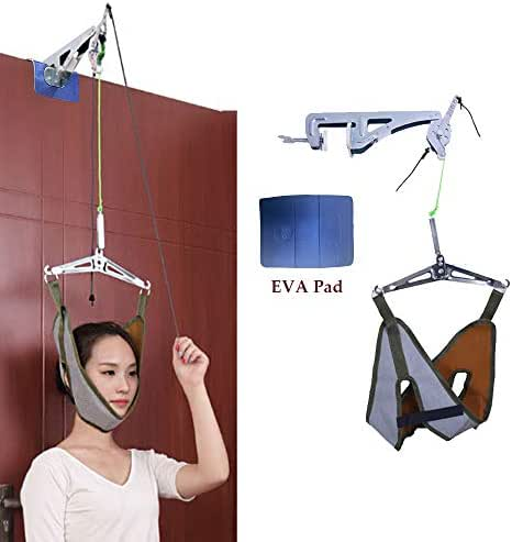 Neck Cervical Traction Device Unit Kit Home Over Door Neck Spinal Decompression Devices Orthopedic Overhead Traction Stretcher Head Harness Neck Hammock Brace Pain Relief Physical Therapy Set