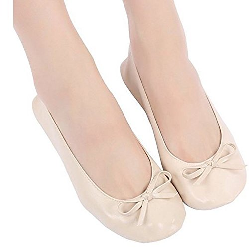 Expandable Foldable Shoes Womens Cream Flats High Bag Ballet Shoes Tote Folding Heels for 1wtABw