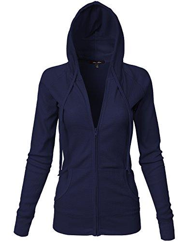 Basic Kangagoo Pocket Thermal Knit Hoodie Jackets, Navy Large