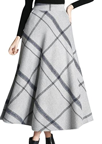 New LD Womens Winter High Waist Plaid Big Hem Thicken Wool Blend Skirt