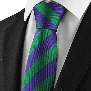 FYios®Nuevo rayas púrpura verde Mens traje corbata corbata parte ...