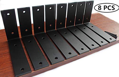 8 Pack - L 6'' x H 4'' x W 1.5'', 5mm Thick Black L Shelf Bracket, Iron Shelf Brackets, Metal Shelf Bracket, Industrial Shelf Bracket Decorative Shelving, Shelf Supports with Screws by MHMYDZ