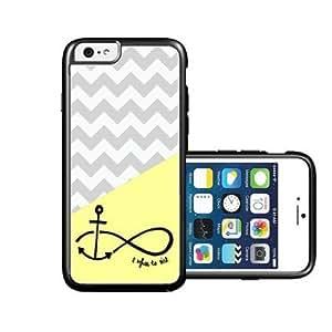RCGrafix Brand Lemon Grey Chevron Anchor Refuse To Sink iPhone 6 Case - Fits NEW Apple iPhone 6