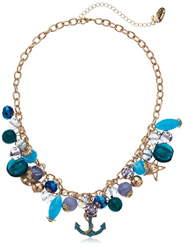 Nautical Shakey Necklace with Faceted Glass Beads in Shades of Blue wtih Gold-Tone Charms, 18