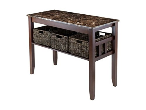 (Zoey Hall Table with 3 Storage Baskets and Faux Marble Top Elegant Design, Walnut)