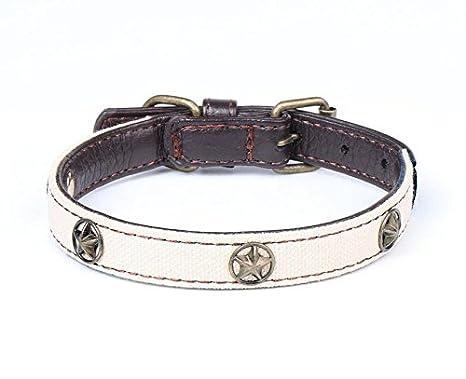 Collar de Gato de Perro Collar de Perro de Lona PU de Cinco ...