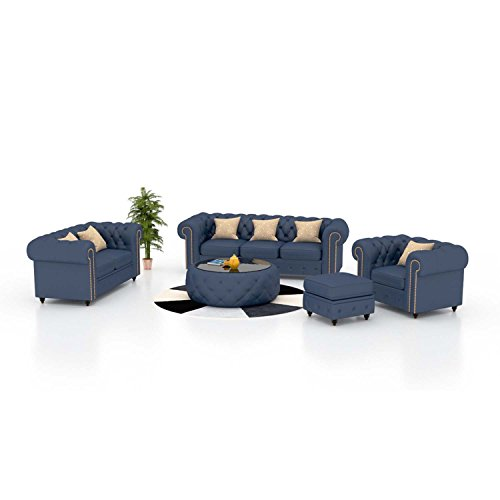 Funterior 3+2+1 Magnificent Leatherette Sofa Set Royal Blue