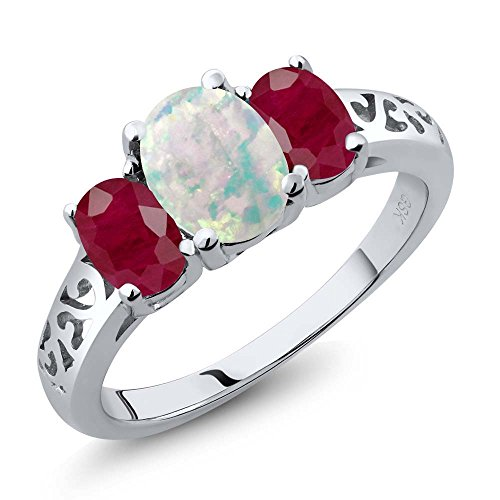 2.25 Ct Oval Cabochon White Simulated Opal Red Ruby 925 Sterling Silver 3 Stone Ring (Ruby Trellis Ring)