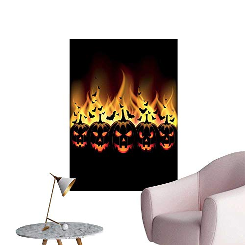 Vintage Halloween Wall Mural Wallpaper Stickers Happy Halloween Image with Jack o Lanterns on Fire with Bats Holiday Room Bedside Black Scarlet W32 x -