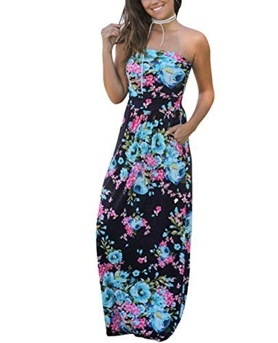 Kbook Womens Strapless Vintage Floral Print Summer Beach Party Boho Pocket Maxi Dress,Navy Floral,X-Large ()