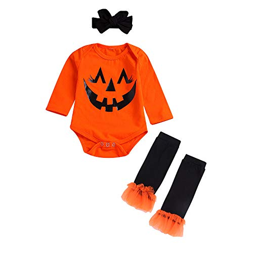Ankola 3pcs Baby Girl Boy Cute Long Sleeve Pumpkin Smile Print Romper Leg Warmers Hairband Outfits Halloween Costume (18-24 Months, Red)