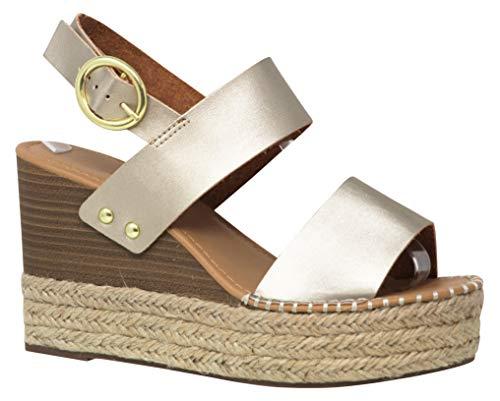 MVE Shoes Women's Ankle Buckle Espadrille Platform Sandals, Trip Gold PU 7.5