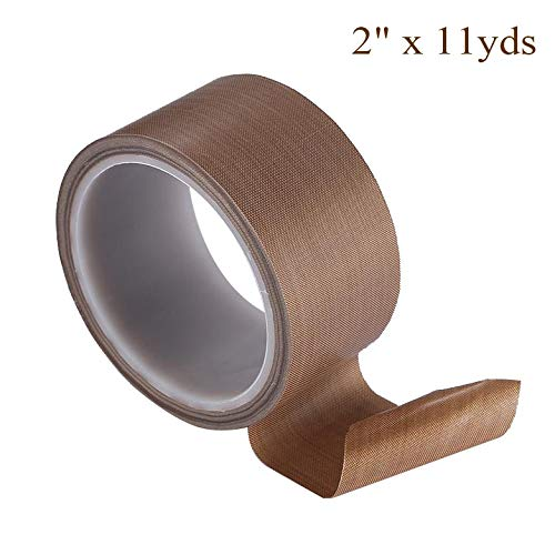 2 x 11yds PTFE Adhesive Tape PTFE Coated Fabric Teflon Tape Adhesive Tape High Temperature Teflon Tape for Vacuum, Hand and Impulse Sealers FoodSaver, Seal A Meal, Weston, Cabellas and Many More